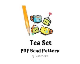 Bead Pattern Tea Cup and Tea Bag, Brick Stitch Cute Miyuki Charms, PDF Digital Download - P2150951