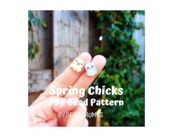 Brick Stitch Spring Chicks, Miyuki Seed Bead Patterns, PDF Digital Download