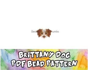Bead Pattern Brittany Spaniel Dog, Brick Stitch or Peyote Stitch Charm - Digital File