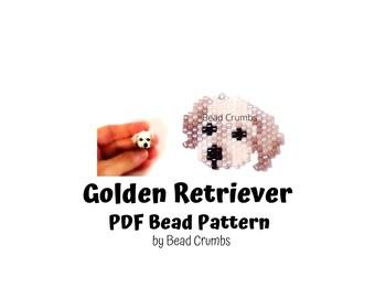 Golden Retriever Dog Puppy Brick Stitch Bead Pattern, PDF Digital Pattern