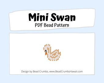 Brick Stitch Bead Pattern Mini Swan, Beaded Charm Pendant Earring Jewelry, PDF Digital Pattern