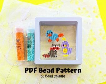 Platypus Quail Raccoon Brick Stitch Bead PATTERN, Miyuki Charm Diagram, Alphabet Buddies PDF Digital Download