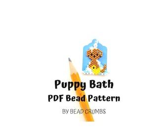 Dog Puppy Bath Brick Stitch Bead Pattern, PDF Digital Download