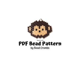 Bead Pattern Monkey Face, Peyote or Brick Stitch Beading, PDF Digital Download