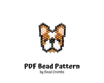 French Bulldog Bead Pattern, Miyuki Brick Stitch Charm, PDF Digital Download - P2161284