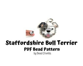 Staffordshire Bull Terrier Dog Brick Stitch Bead Pattern, PDF Digital Download