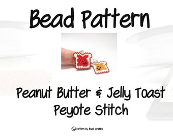 Peanut Butter and Jelly Toast , Peyote / Brick Stitch Bead Pattern | DIGITAL DOWNLOAD