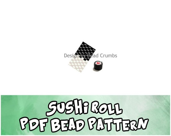 DIY Beaded Sushi Charm, Even Count Peyote Stitch Pattern, PDF Digital Download