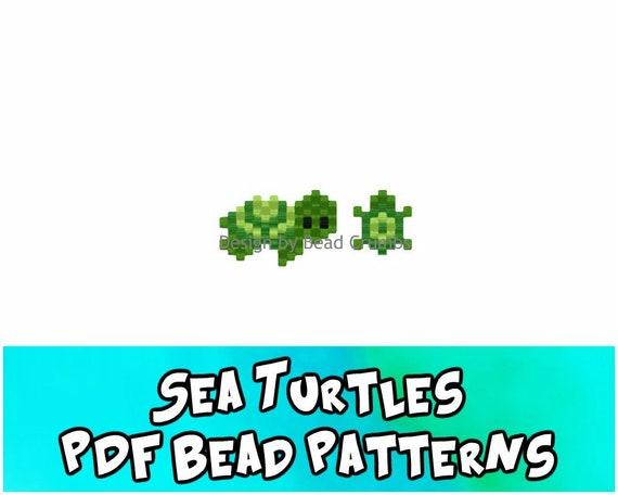 Brick Stitch Bead Pattern: Sea Turtle Charms, PDF Digital Download