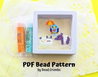 Sea Bunny Tapir Umbrellabird Brick Stitch Bead PATTERN, Miyuki Charm Diagram, Alphabet Buddies PDF Digital Download