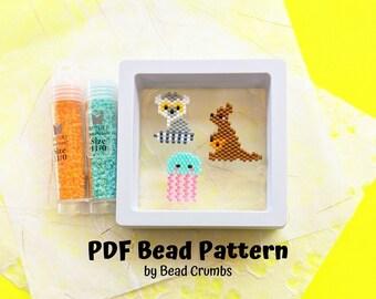 Jellyfish Kangaroo Lemur Brick Stitch Bead PATTERN, Miyuki Charm Diagram, Alphabet Buddies PDF Digital Download