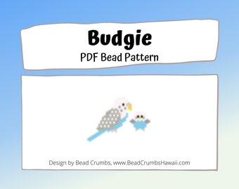 Budgie Parakeet Brick/Peyote Stitch Bird Bead PATTERN, DIY Craft Seed Bead Charm, PDF Digital Download