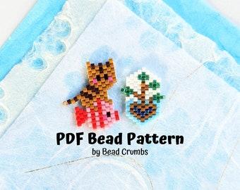 Fishing Cat Fish Mangrove Tree Bead Pattern, Miyuki Weaving Diagram, Brick Stitch Charm, PDF Digital Download - P2157931