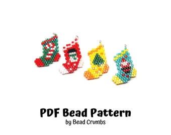 Bead Pattern Christmas Stocking Set, Peyote / Brick Stitch Beading, DIY Miyuki Charms - Digital Download P7152020