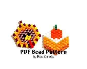 Beading Pattern Mini Thanksgiving Ornaments, Turkey Pumpkin Crunch Pie Charms, PDF Digital Download P2146582