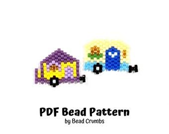 Camper Bead Pattern, Miyuki Brick Stitch Charm, PDF Digital Download - P2161138
