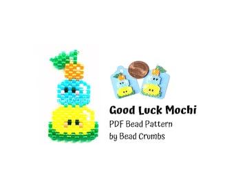 Brick Stitch Pattern Kawaii Mochi Pattern, New Year's Good Luck Charm