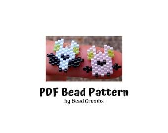 Mini Bats Brick or Peyote Stitch Bead Pattern, Halloween Charm, PDF Digital Download