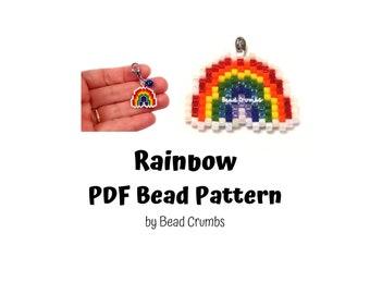 Rainbow Bead Pattern, Peyote / Brick Stitch Bead Weaving   DIGITAL DOWNLOAD