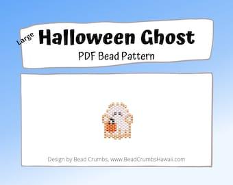 Bead Pattern Cute Halloween Ghost, Brick Stitch Charm, PDF Digital Pattern