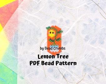 Lemon Tree Bead Pattern, Brick Peyote Stitch Charm Earring Pendant, Kawaii Plant, PDF Digital Download - P2157024
