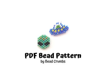 Brick Stitch Bead Patterns: Mini UFO Spaceship and Alien Charms for DIY Jewelry, Stitch Markers, Bag Accessories