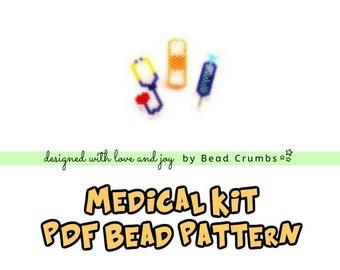 Brick Stitch Stethoscope, Bandage, Syringe Bead PATTERN, Medical Kit   Printable Digital Download