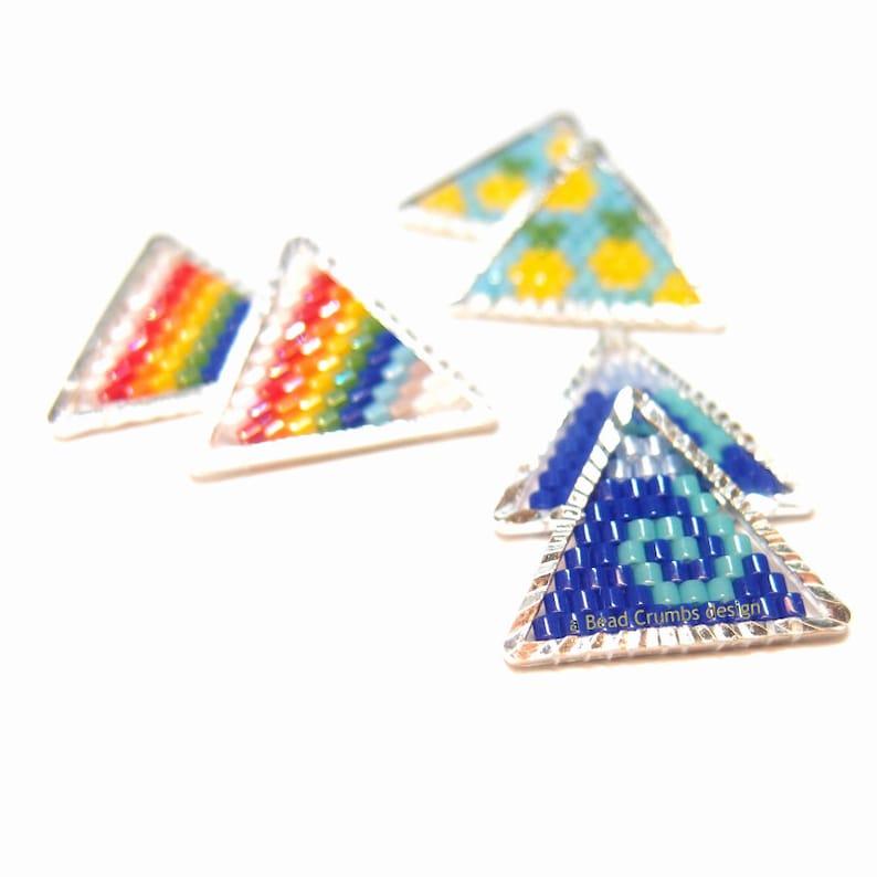 Wave  Rainbow  Pineapple Triangle Seed Bead Pendant / Charm image 0