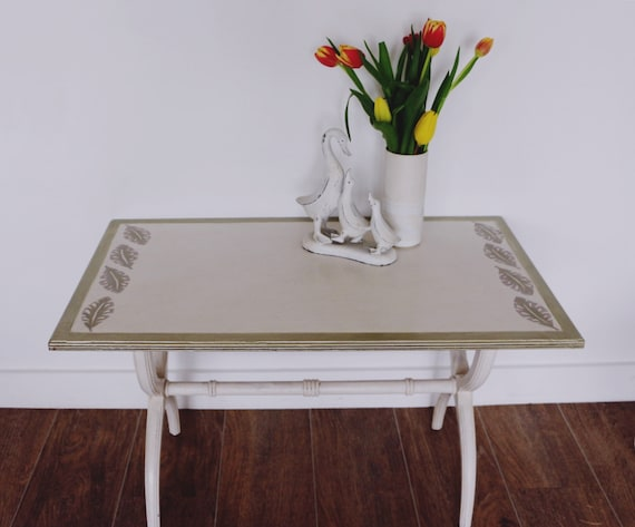 Vintage Re Styled Painted Cream Side Coffee Table With Gold Etsy