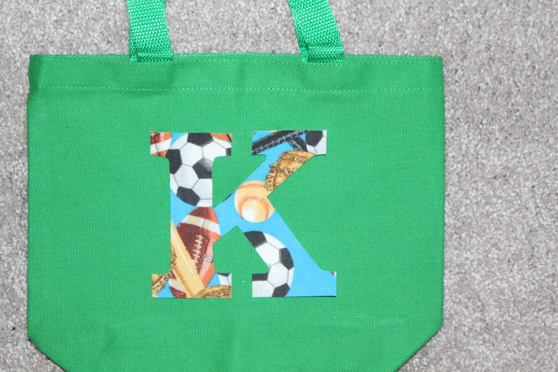 Personalized Sports Kids Party Fabric Initial Monogrammed Tote Easter Cotton Tote Party Gift Tote Party Favor Cotton Birthday