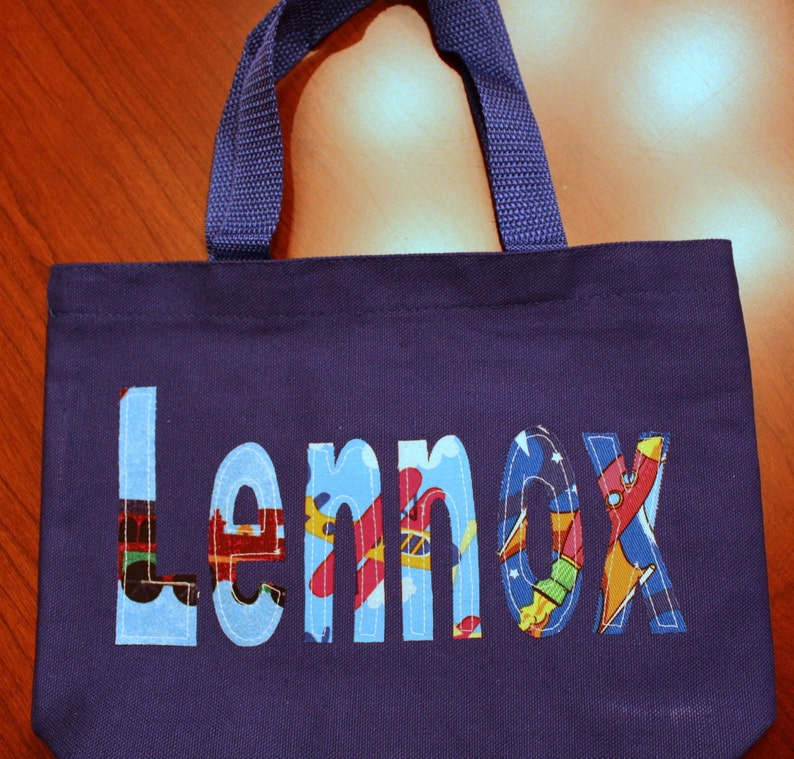 Boy/'s Personalized Library Tote trains planes rockets boy book bag school custom name birthday gift idea wedding ring bearer toy tote kids