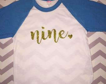 9th birthday shirt nine ninth birthday shirt ninth birthday nine birthday shirt