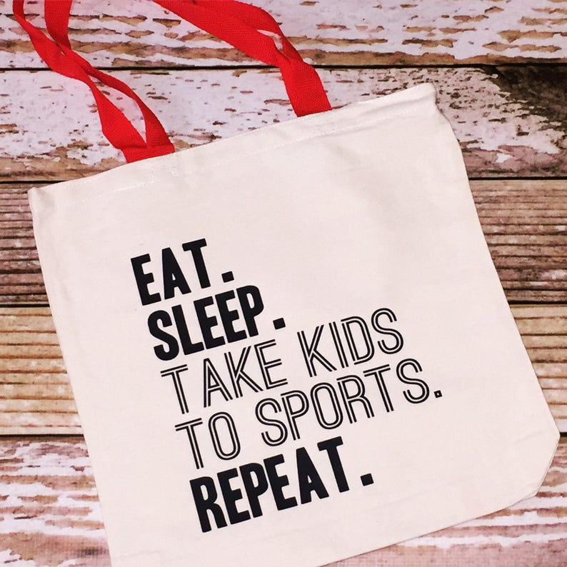 7ac9de8f008c5 eat sleep take kids to sports repeat tote bag canvas shopping bag grocery  tote canvas tote sports tote