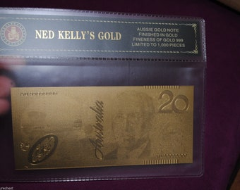 Australian Gold Foil 99.9% DECIMAL Bank Note - Five or Twenty Dollars - Free Postage Australia Wide