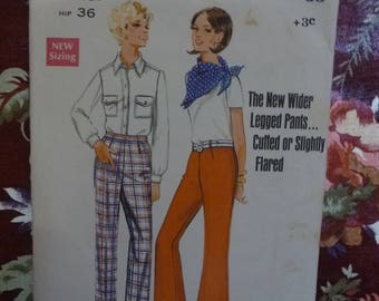 Vintage 1970's BUTTERICK Misses Flared Pants Sewing Pattern - Pattern #5045- Free Postage Australia Wide