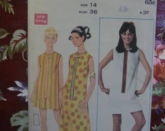 Vintage 1970's BUTTERICK Misses Kaftan Shift Dress Sewing Pattern - Pattern #4800- Free Postage Australia Wide