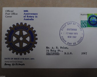 Australian ROTARY 50th Anniversary 1971 FDC First Day Cover - Postmarked - Free Postage Australia Wide