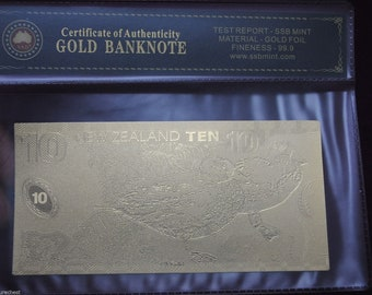 International World Currency Gold Foil 99.9% Decimal Bank Note - NZ, USA or EURO - Free Postage Australia Wide
