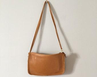 mustard leather messenger bag | vintage shoulder cross body bag