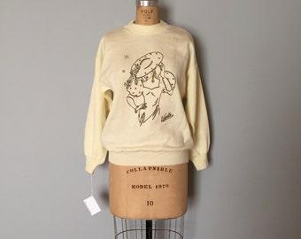 lady print sweater | 80s cream white pullover