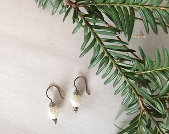 faux pearl drop earrings | french antique inspired earrings
