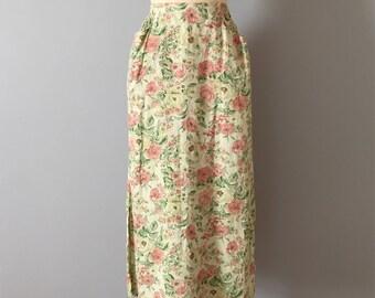 avocado green linen skirt | gardenista floral maxi skirt | side slit two pocket linen skirt