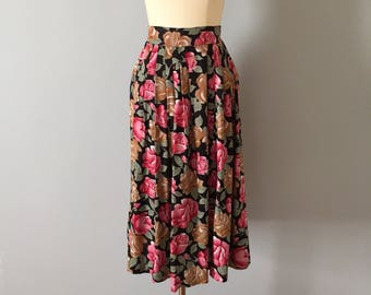 COCOA and ROSES floral print midi skirt | pleated coffee and strawberry roses skirt