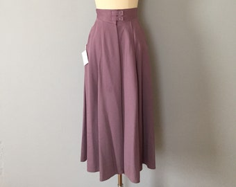 DARK LILAC maxi skirt   1970s tiered wool and lambswool skirt   yoked strappy waist skirt