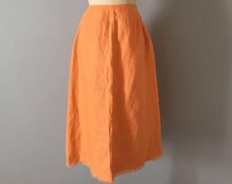 PERSIMMON ORANGE linen skirt | fringed linen skirt | side button midi skirt