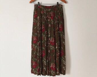 gobelins print maxi skirt   moss green pleated skirt   1970s floral gobelins skirt