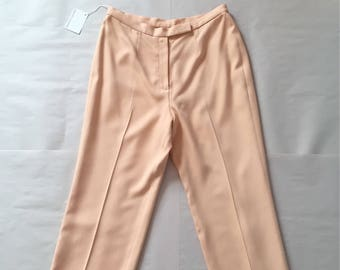 SALMON PINK silk trousers | baggy cropped silk cigarette pants