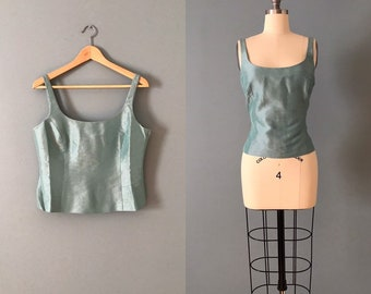 9602b81c025 SEA GREEN silk corset top / cropped corset top / French Countryside silk top