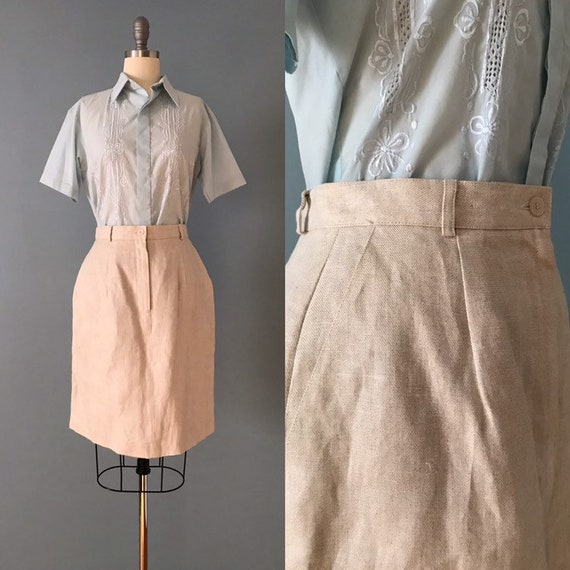 Irish linen skirt | tulip shape skirt | nude linen