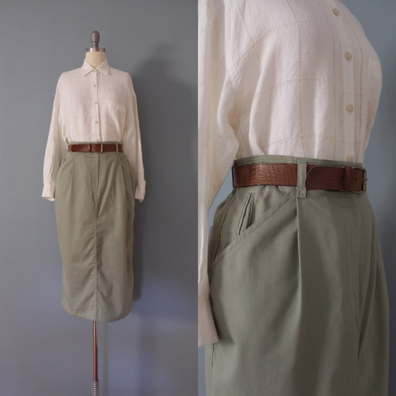 SAGE green maxi skirt | belted cotton skirt | 197… - image 1